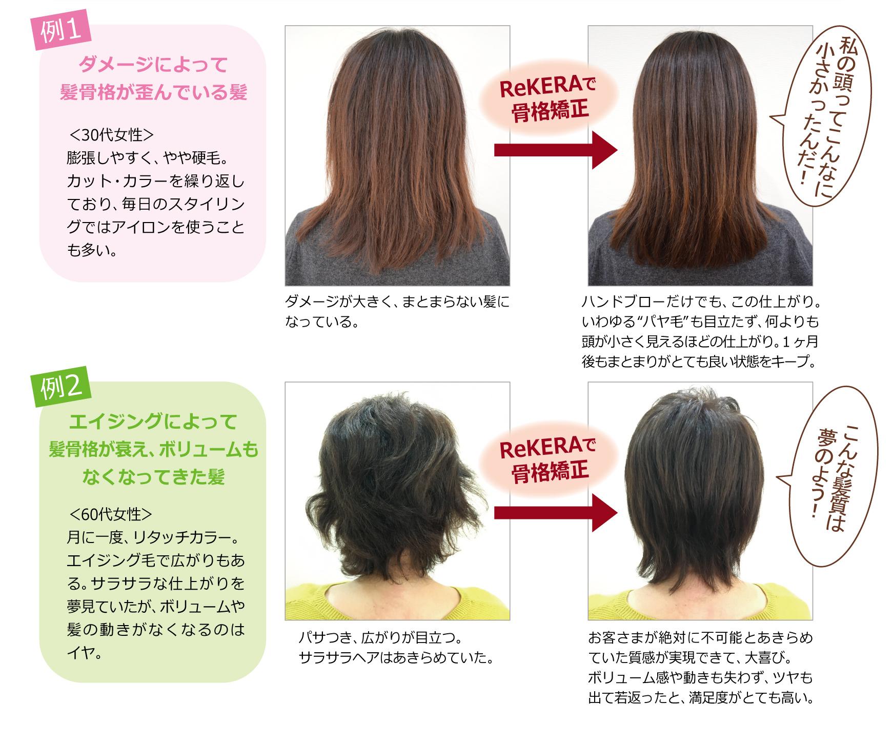 髪を美容整形する例