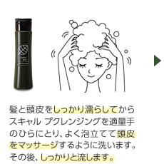 髪と頭皮をしっかり濡らしてからスキャルプクレンジングを適量手のひらにとり、よく泡立てて頭皮をマッサージするように洗います。その後、しっかりと流します。