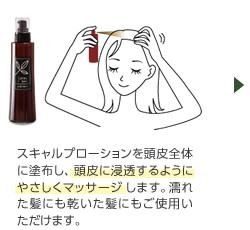 スキャルプローションを頭皮全体に塗布し、頭皮に浸透するようにやさしくマッサージします。濡れた髪にも乾いた髪にもご使用いただけます。